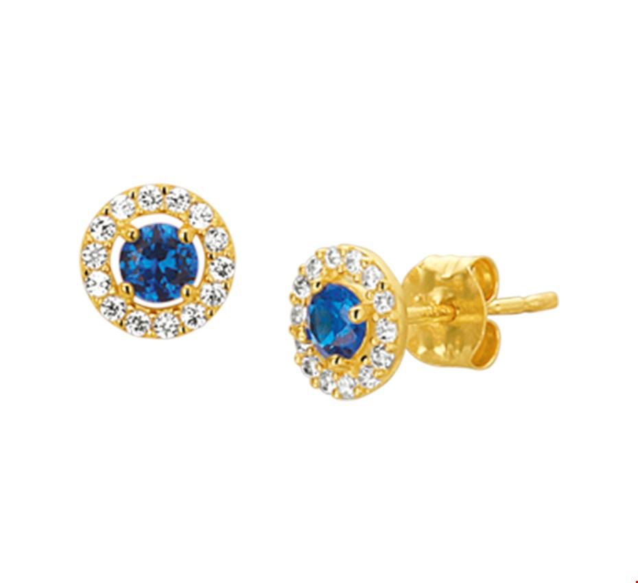 Gouden Oorknoppen syn. saffier en zirkonia - 4019166