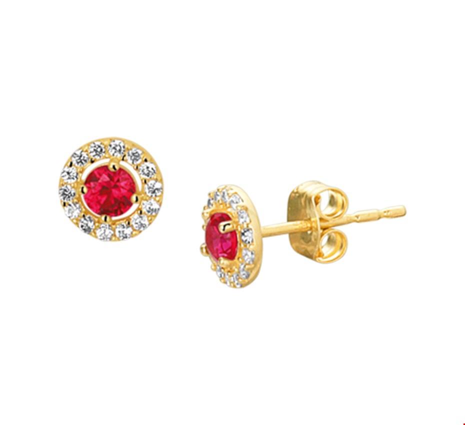 Gouden Oorknoppen syn. robijn en zirkonia - 4019164