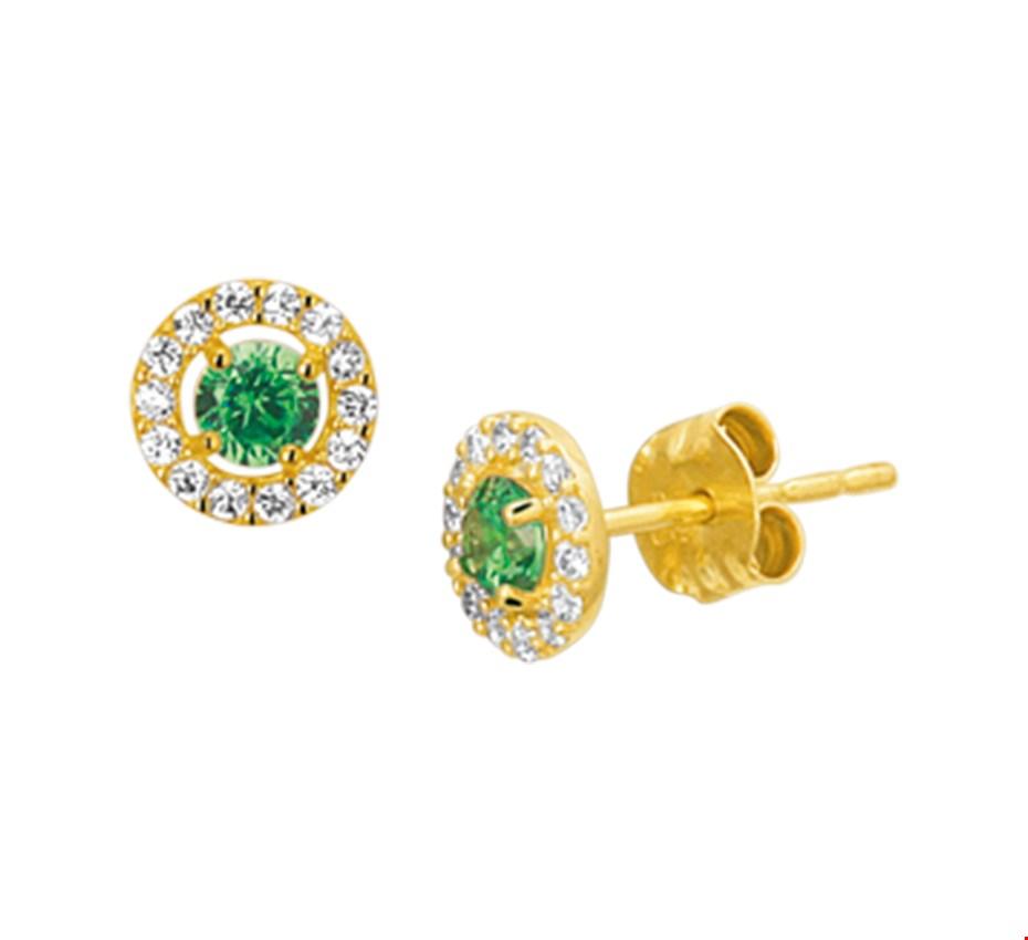 Gouden Oorknoppen syn. smaragd en zirkonia - 4019165