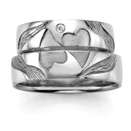 zilveren trouwring dubbele hart