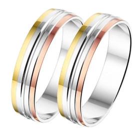 Drie kleuren Trouwring goud met Zilver AL756