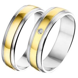 Goud met Zilver Trouwringen AL750